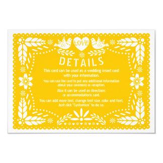 Detalhes amarelos do casamento dos pássaros do convite 8.89 x 12.7cm
