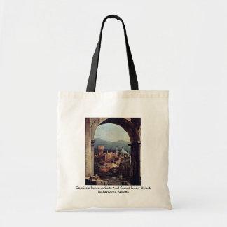 Detalhes da torre da porta e de guarda do romano d bolsas para compras