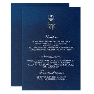 Detalhes do casamento da chave do marinho do ouro convite 8.89 x 12.7cm