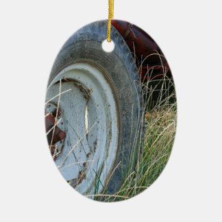 detalhes do trator ornamento de cerâmica oval