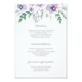 Detalhes roxos e azuis do casamento - informação convite 8.89 x 12.7cm
