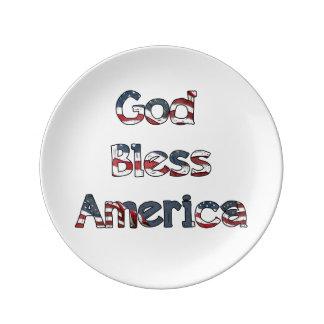 Deus abençoe América Prato De Porcelana