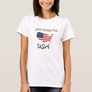 Deus abençoe camisa azul branca vermelha dos EUA,