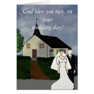 Deus abençoe você, em seu cartão do dia do casamen
