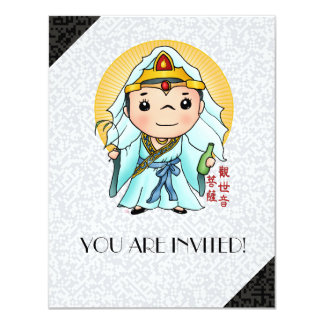 Deus chinês bonito da piedade convite 10.79 x 13.97cm