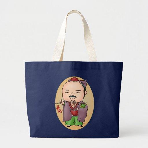 Deus chinês bonito da saúde bolsas de lona