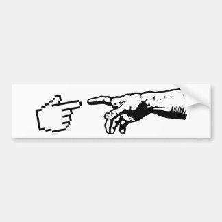 Deus e as mãos da máquina adesivo