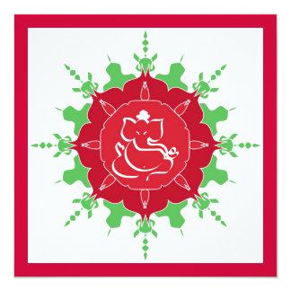 Deus Ganesha na flor vermelha Convite Quadrado 13.35 X 13.35cm
