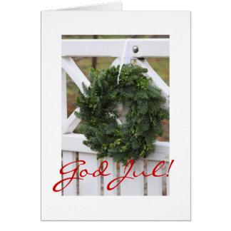 Deus julho! Cartão sueco da grinalda do Natal