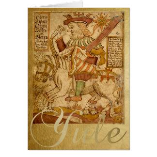 Deus Odin em seu cavalo Sleipnir - cartão de Yule
