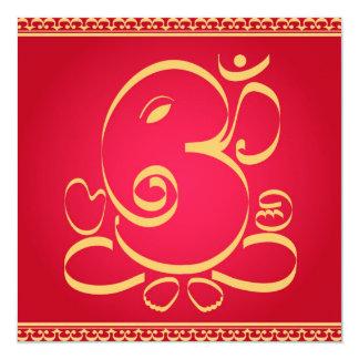 Deus OM Ganesha no vermelho Convite Quadrado 13.35 X 13.35cm