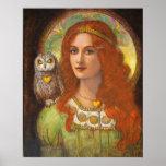 Deusa Athena, mulher & de fantasia da coruja poste Impressão