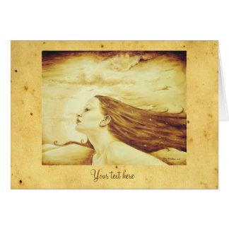 Deusa crepuscular com pergaminho antigo cartões