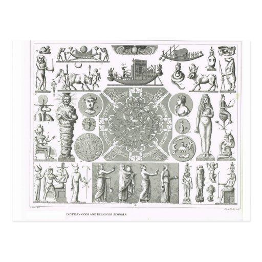 Deuses egípcios e símbolos religiosos cartoes postais