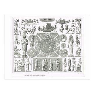 Deuses egípcios e símbolos religiosos cartão postal