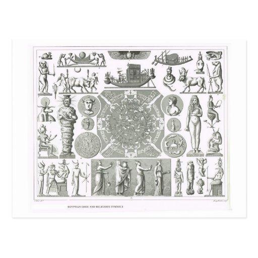 Deuses egípcios e símbolos religiosos cartao postal
