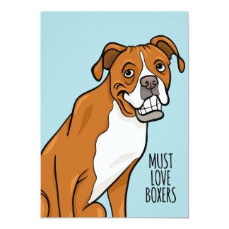"""""""Deve amar o cão do pugilista dos desenhos Convite 12.7 X 17.78cm"""