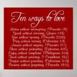 Dez maneiras de amar o poster do verso da bíblia