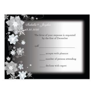 Dezembro preto & branco que Wedding RSVP Cartão Postal