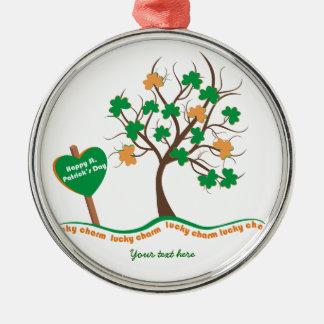 Dia afortunado do St. Patricks do trevo do trevo Ornamento Redondo Cor Prata