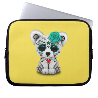 Dia azul do urso polar do bebê inoperante sleeve para laptop
