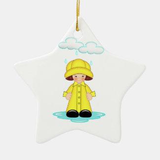 Dia chuvoso ornamento de cerâmica estrela