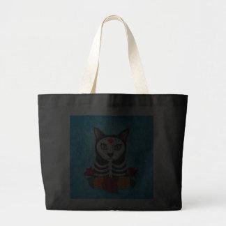 Dia da arte inoperante do gato do crânio do açúcar sacola tote jumbo