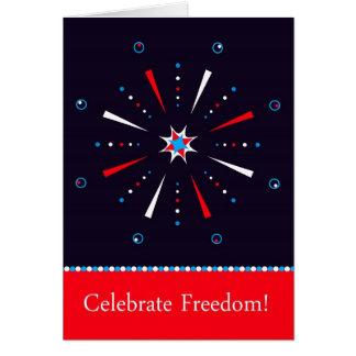 Dia da Independência cartão do fogo-de-artifício