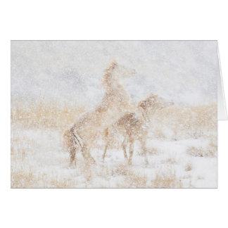 Dia da neve para o cartão do cavalo dos mustang