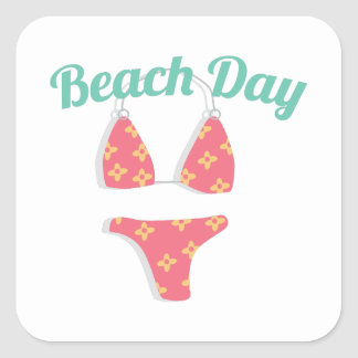 Dia da praia adesivo quadrado
