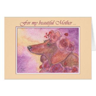 Dia das mães, cão do dachshund & cartão dos rosas