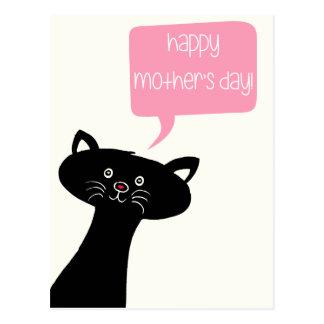 Dia das mães - cartão bonito do gato preto