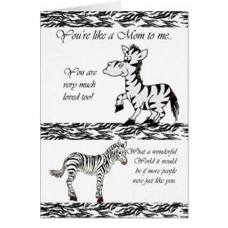 Dia das mães, como uma mãe a mim, bonito com zebra cartão comemorativo
