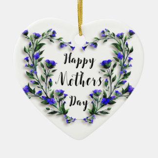 Dia das mães - coração floral bonito ornamento de cerâmica coração