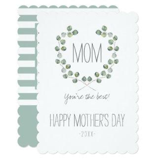 Dia das mães do quadro | da folha do eucalipto da convite 12.7 x 17.78cm