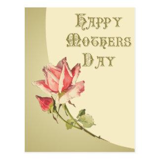 Dia das mães do vintage com o cartão do rosa do