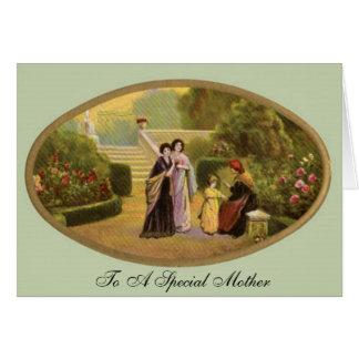 Dia das mães do vintage no jardim cartão comemorativo