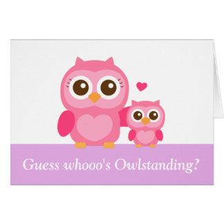 Dia das mães engraçado, rosa, corujas bonitos cartão comemorativo