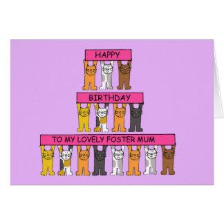 Dia das mães feliz a meu Mum adoptivo bonito Cartoes