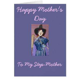 Dia das mães feliz, a minha madrasta cartão comemorativo