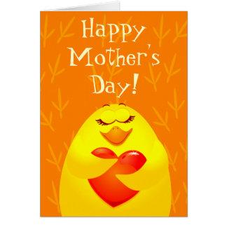 Dia das mães feliz, cartão com pintinho