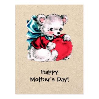 Dia das mães feliz. Cartão doces do urso de