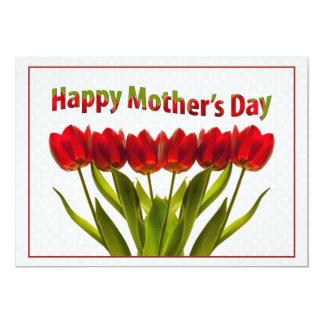 Dia das mães feliz: Fileira de tulipas vermelhas Convite 12.7 X 17.78cm