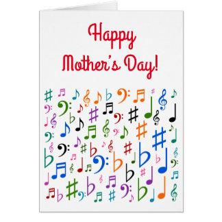 """""""Dia das mães feliz!"""" + Símbolos de música Cartão"""