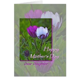 Dia das mães, para a filha, flores roxas cartão comemorativo