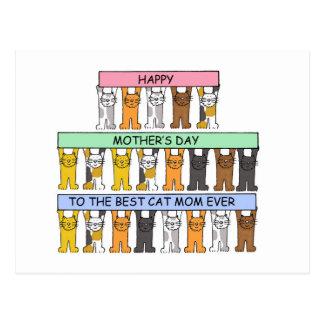 Dia das mães para a melhor mamã do gato nunca cartao postal