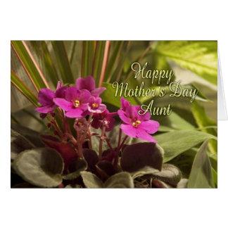 Dia das mães para a tia - violetas africanas cartão comemorativo