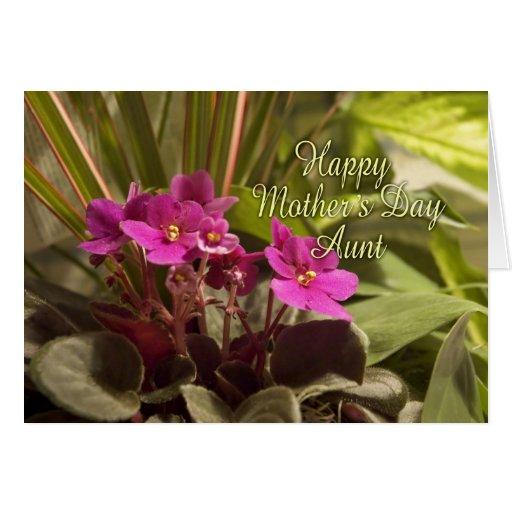 Dia das mães para a tia - violetas africanas cartoes