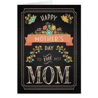 Dia das mães retro do quadro com flores cartão comemorativo