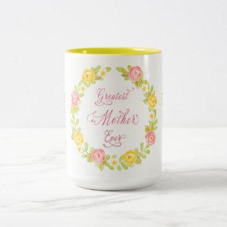 Dia das mães - rosas bonito da aguarela caneca de café em dois tons